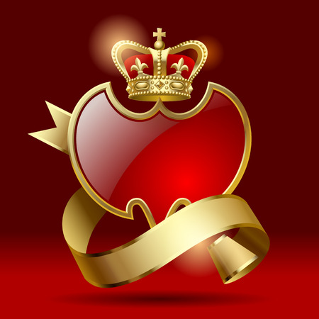 Retro artistic badge in the form of a shields with gold ribbon and crown against a dark red background