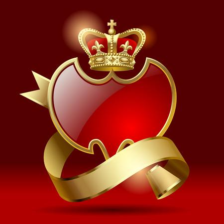 royal crown: Insignia artística retro en forma de unos escudos con cinta de oro y una corona sobre un fondo de color rojo oscuro Vectores