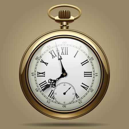계시기: 오래 된 빈티지 시계 얼굴의 현실적인 이미지. 레트로 포켓 시계입니다. 클리핑 패스 포함