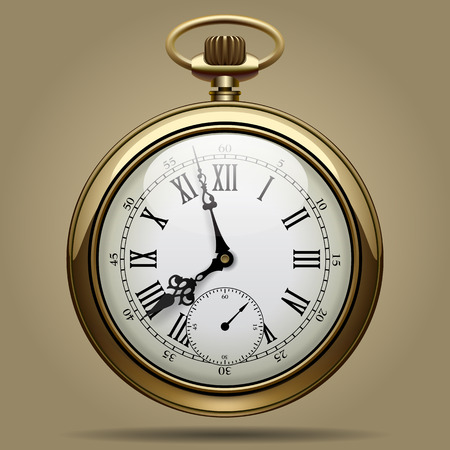 Realistic image of old vintage clock face. Retro pocket watch. Contain the Clipping Path Ilustração