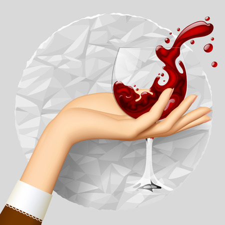 retro woman: Womans hand holding a wineglass with splashed wine on crumpled paper circle. Vector illustration