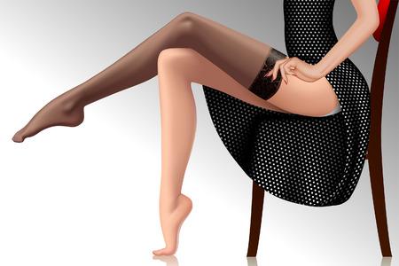 Frau im schwarzen Retro-Kleid, das einen Strumpf anzieht. Gekreuzte schöne weibliche Beine im Pin-up-Stil. Modekonzept. Vektorillustration Vektorgrafik