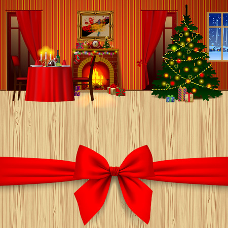 Xmas and New Year greeting card with a red bow and holiday interior with fireplace, gifts, decorated christmas tree. Vector illustration
