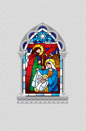 Stained glass window depicting Christmas scene in gray gothic frame isolated on white decorative ornamental background. Artistic Xmas symbol and greeting card. Vector illustration