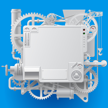White complex fantastic machine with gears, levers, pipes, meters, production line, flue and lifting crane on blue background. Steampunk style template, poster and techno symbol. Vector illustration