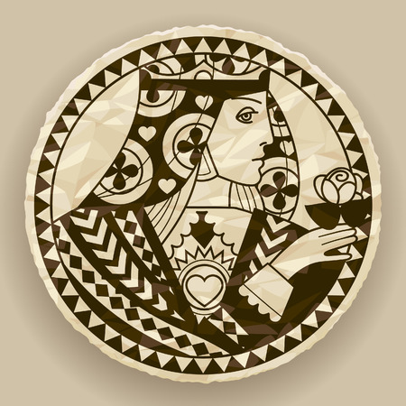 Face of woman on round crumpled paper background. Vintage contour drawing of playing cards character. Vector illustration Çizim