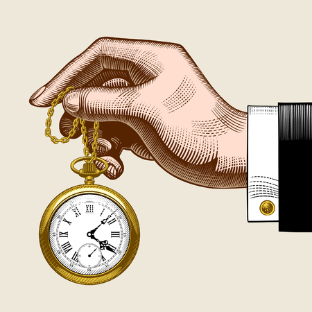 Hand of man with a gold retro pocket watch. Vintage color stylized drawing. Vector Illustration