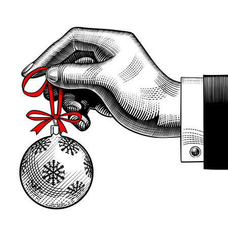 Hand of man holding a Christmas tree ball. Vintage stylized drawing. Vector Illustration