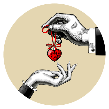 Man gives a red toy heart in woman's hand. Vintage stylized drawing. Vector Illustration