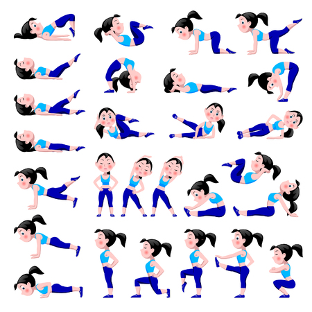 Cartoon girl in blue suit doing fitness exercises isolated on white background. Woman in different sport poses. Healthy and active life style icon set. Vector illustration. Vettoriali