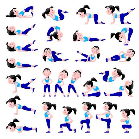 Kreskówka dziewczyna w niebieskim garniturze robi ćwiczenia fitness na białym tle. Kobieta w różnych pozach sportowych. Zestaw ikon zdrowego i aktywnego stylu życia. Ilustracji wektorowych.