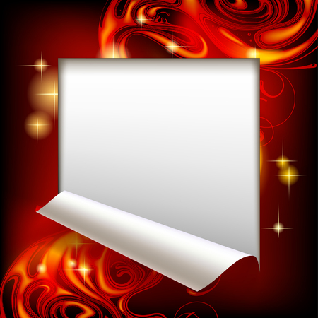 Cut framed paper sheet with red abstract luminous fantasy background. Vector illustration. Vettoriali