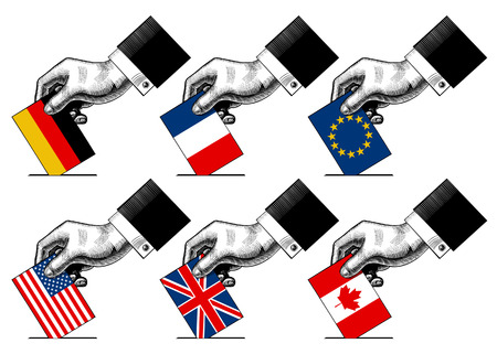 Hand putting voting paper with flags of USA, Canada, EU, Germany, France and Great Britain. Vintage stylized election conceptual drawing. Vector illustration