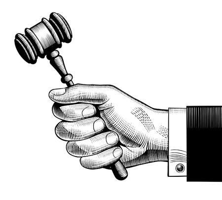 Hand holding judges gavel. Vintage engraving stylized drawing.  Vector illustration