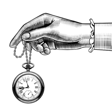 Woman's hand with a retro pocket watch. Vintage stylized drawing. Vector Illustration Çizim