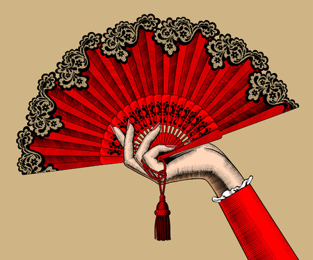 Female hand with red open fan. Vintage color engraving stylized drawing. Vector illustration