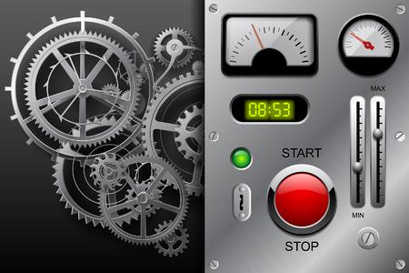 Ruedas dentadas en blanco y negro y panel de tablero metálico con juego de contadores, botones y otras piezas de maquinaria sobre fondo metálico. Ilustración vectorial