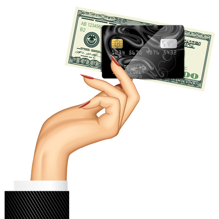 Hand of woman holding credit card and dollar banknote. Vector illustration