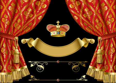Red curtains with vintage ornament, gold royal crown, vintage banner and other retro decorative design elements isolated on black. Vector illustration