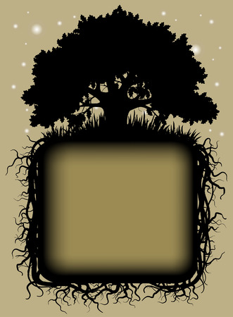 Oak tree black silhouette with roots and frame. Vintage artistic banner and page design. Vector illustration Illustration