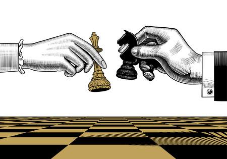 Les mains de la femme et de l'homme avec des pièces d'échecs de roi et de cheval. Dessin stylisé de gravure vintage. Illustration vectorielle Vecteurs