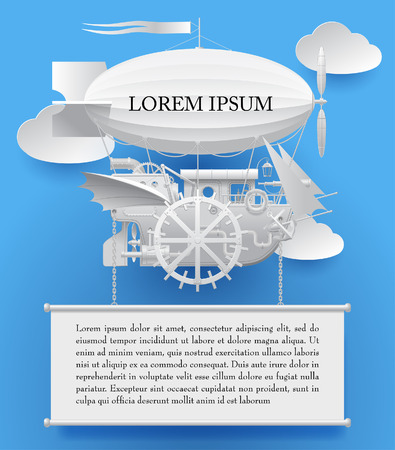 Vintage white paper steampunk template with a complex fantastic flying ship on blue. Web page design in retro style. Vector Illustration