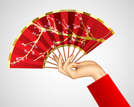 Woman's hand with open chinese red fan isolated on white. Vector illustration Illusztráció