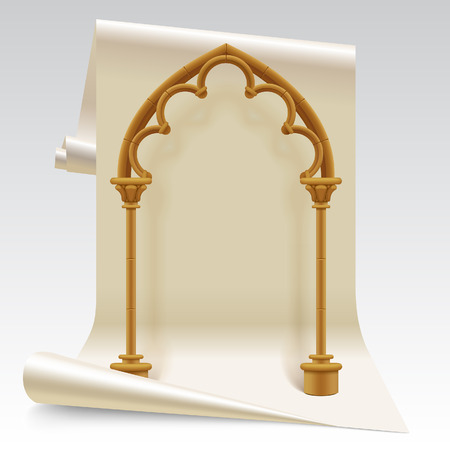Three dimensional paper sheet and brown gothic arch model. Design symbol and concept. Vector Illustration