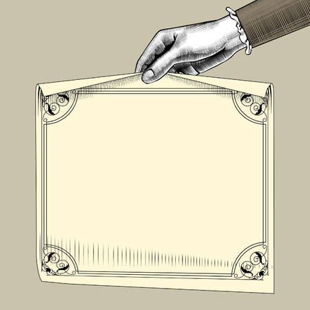 Woman's hand holding a paper sheet with retro frame. Vintage engraving stylized drawing. Vector illustration