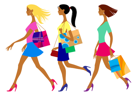 Three shopping girls in flat style isolated on white. Vector illustration Archivio Fotografico - 104064147