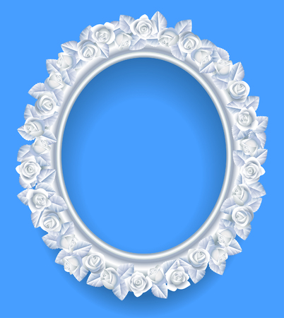 Round classic frame with white roses wreath on blue. Vector illustration Illustration