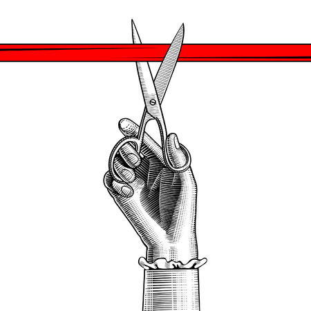 Woman's hand with scissors cutting red ribbon. Vintage engraving stylized drawing. Vector illustration Vettoriali