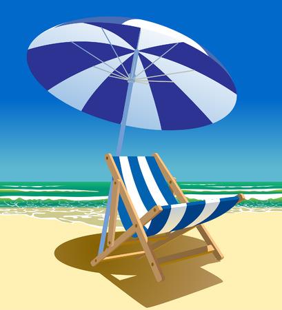 Silla de playa y sombrilla cerca del mar. Símbolo y metáfora del viaje de verano. Ilustración vectorial