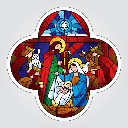 Kształt krzyża ze sceną Bożego Narodzenia i Pokłonu Trzech Króli w stylu witrażu. Ilustracji wektorowych