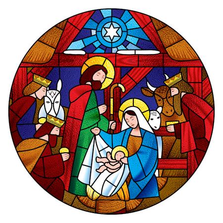 Kreisform mit der Weihnachts- und Anbetungsszene der Heiligen Drei Könige im Buntglasstil. Vektorillustration