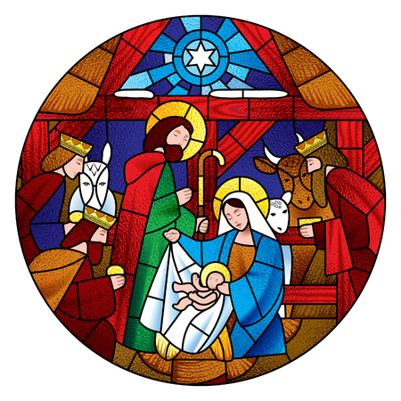 Circle shape with the Christmas and Adoration of the Magi scene in stained glass style. Vector illustration