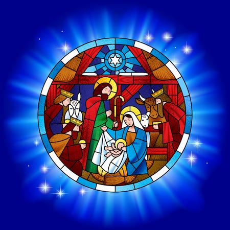 Círculo de vidrieras con la escena de Navidad y Adoración de los Magos en azul brillante. Ilustración vectorial