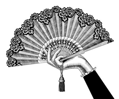 Main féminine avec ventilateur ouvert. Dessin stylisé de gravure vintage. Illustration vectorielle Vecteurs