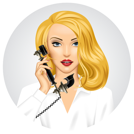 Blonde woman with retro black phone in her hand. Vintage stylized business concept. Vector illustration