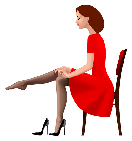Woman in red retro dress putting on an stocking. Fashion concept. Vector illustration