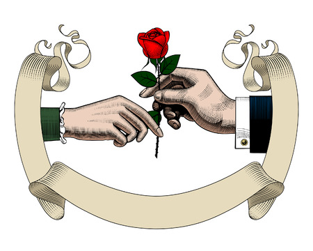Old ribbon banner, hands of man and woman with red rose. Retro style valentine greeting card design. Vintage color engraving stylized drawing. Vector illustration