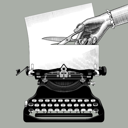 Mano de mujer cortando un papel con unas tijeras insertadas en una vieja máquina de escribir. Concepto de censura y metáfora en estilo retro. Dibujo estilizado de grabado vintage. Ilustración vectorial