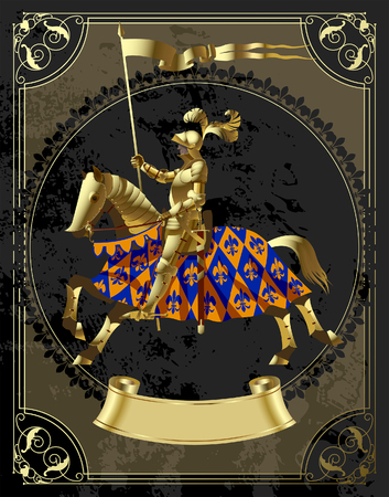 Vintage design template in decorative frame with a gold knight in the round. Vector illustration Stok Fotoğraf - 104064296