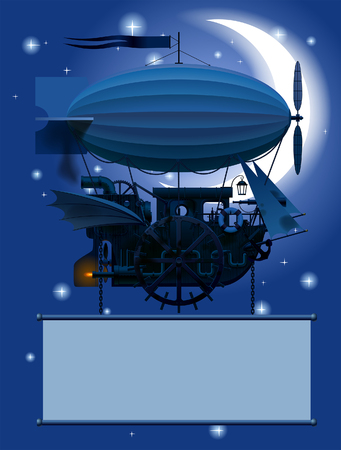 Vintage Steampunk template with a fantastic flying ship in night sky with moon. Web page design in retro and grunge style. Vector Illustration