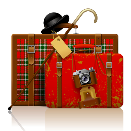 Red old suitcases with walking stick, bowler hat and retro photo camera isolated on white.  Vintage voyage and traveling accessories. Vector illustration
