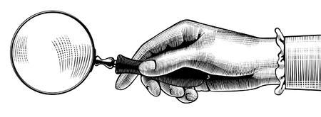 오래 된 돋보기와 여자의 손입니다. 레트로 스타일 검색 기호 및 아이콘입니다. 빈티지 조각 드로잉 양식. 벡터 일러스트 레이 션