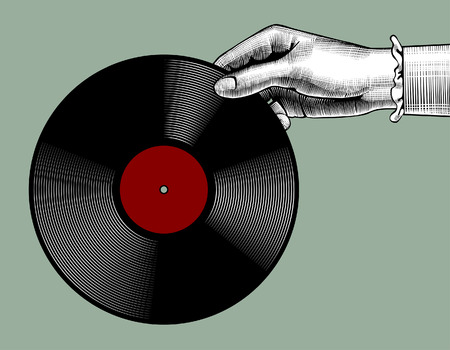 Woman's hand with a gramophone record. Retro music concept. Vintage stylized drawing. Vector Illustration Illusztráció