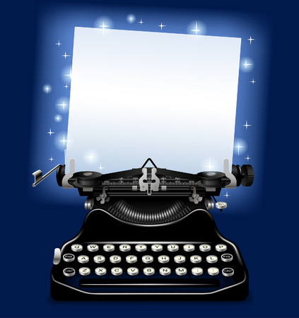 Magic old typewriter with a paper in blue scintillant light. Vector illustration