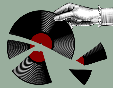 Woman's hand with a broken gramophone record. Retro music concept. Vintage stylized drawing. Vector Illustration