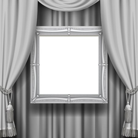 Gray ornamental curtain background with a suspended silver classic frame. Square presentation artistic poster and placard. Vector illustration